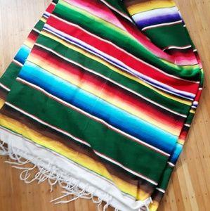Vintage Mexican Serape Striped Bohemian Blanket